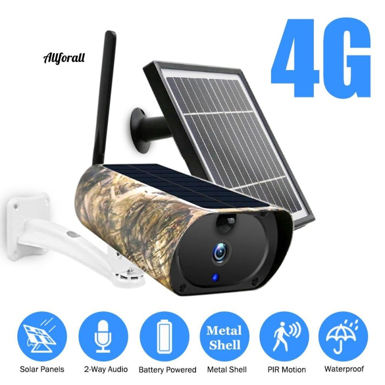 1080P 4G Camera, SIM Card Security External Solar Panel Power Metal Shell, Rechargeable Battery IP Camera Surveillance