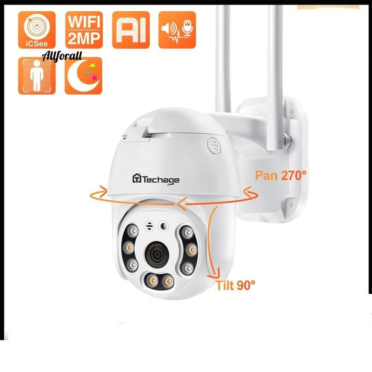 1080P HD WiFi Camera, Full Color Night Vision Outdoor Wireless PTZ IP Camera, AI Human Detection Home Security Camera