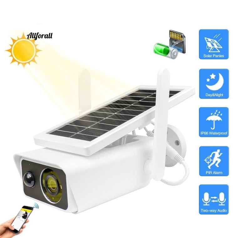 1080P Solar IP Camera, Outdoor Waterproof Wireless Security Camera, Solar Powered IR Motion Detection Night Vision IP Wifi Camera