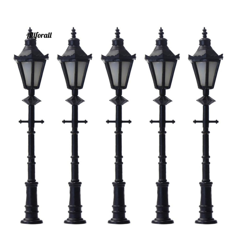 10pcs Model Railway Lamppost, LED Park Lanterns Street Lamp Model Making Railway Lights 6.5cm