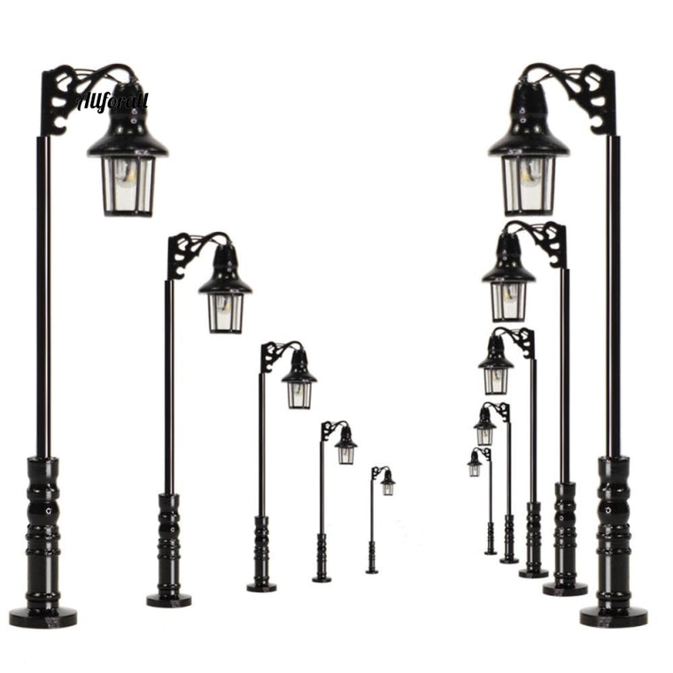 10pcs N Scale Lamp, Post Single Head 47mm, 1:150 Warm White Street Lights, Model Railway Train Leds Miniature