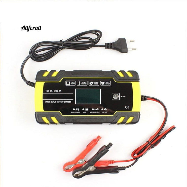 12V-24V 8A Full Automatic Car Charger Battery Power Pulse Repair Charger, Wet Dry Lead Acid Battery-charger, Digital LCD Display