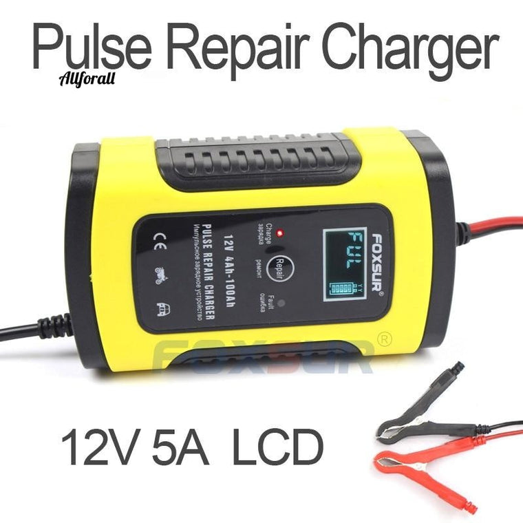 12V 5A Pulse Repair Charger with LCD Display, Motorcycle & Car Battery Charger, 12V AGM GEL WET Lead Acid Battery Charger