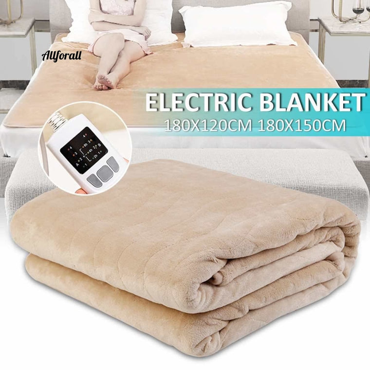 180x150/120cm 4 Level Flannel Electric Heating Blanket, W/ Dual Temperature Timing Controller, Electric Pad Heater