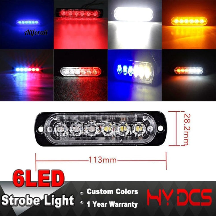 18W 12-24V 6 Red LEDs Strobe Light, 18 Modes Ultra-Thin Emergency Flash Warning Caution Light For Trucks, Cars & Motorcycles