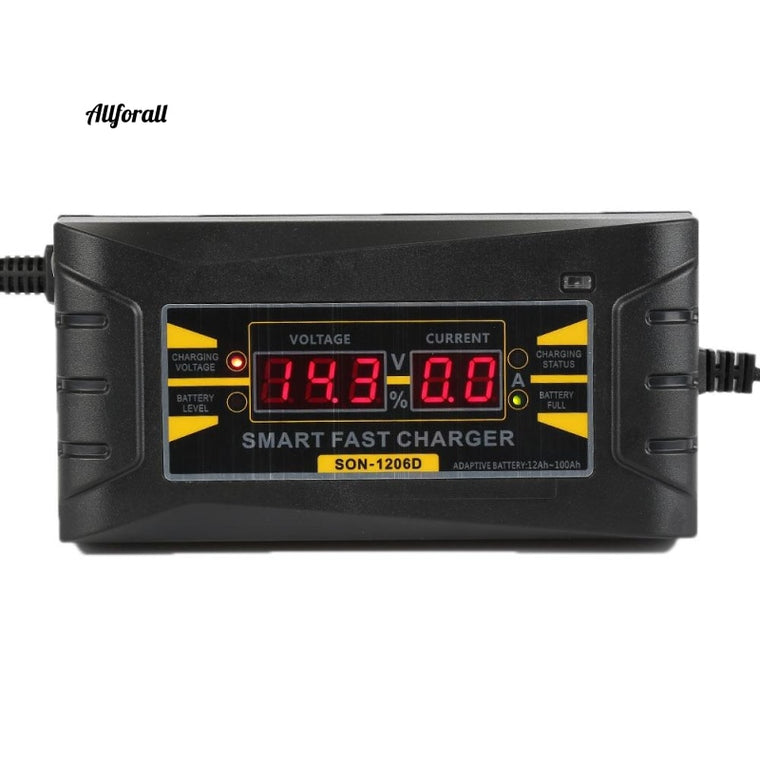 1 stks auto-acculader, SON-1206D + digitale LCD Intelligent Fasts lood-zuur acculader, 12 V 6A voor auto en motorfiets