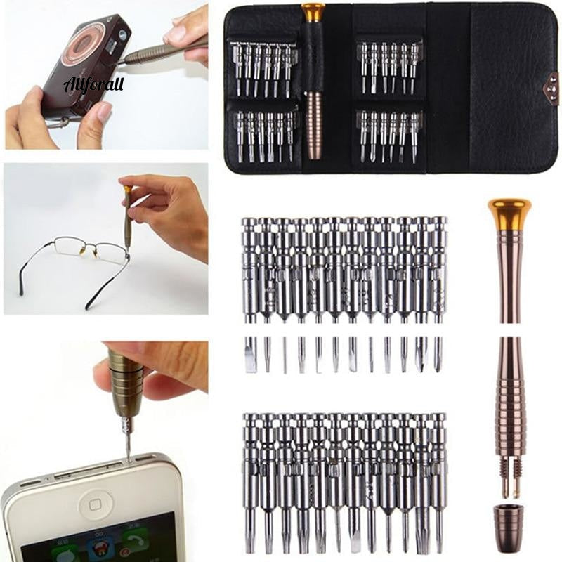 25 in 1 Screwdriver Set, Repair Hand Tool Kit For iPhone 5 5S 6 Cellphone Tablet PC Glasses, Watch Portable Wallet Packing