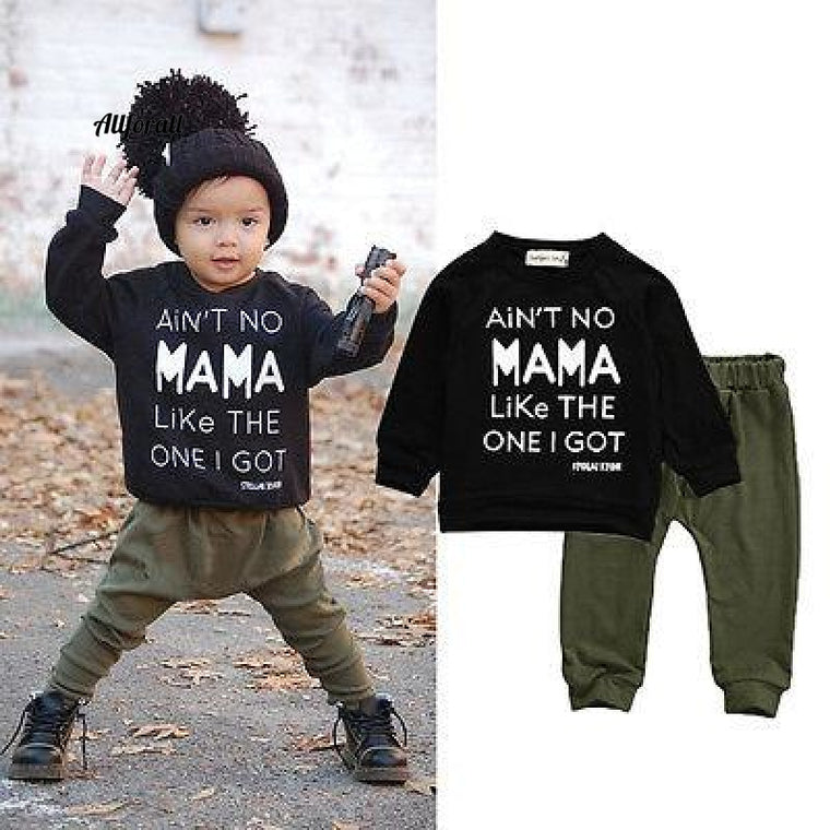 2pcs!!Newborn Toddler Infant Kid Baby Boy Autumn Winter Clothes, Letter Long Sleeve T-shirt Tee+Long Pants Outfits Set, 0-3Y