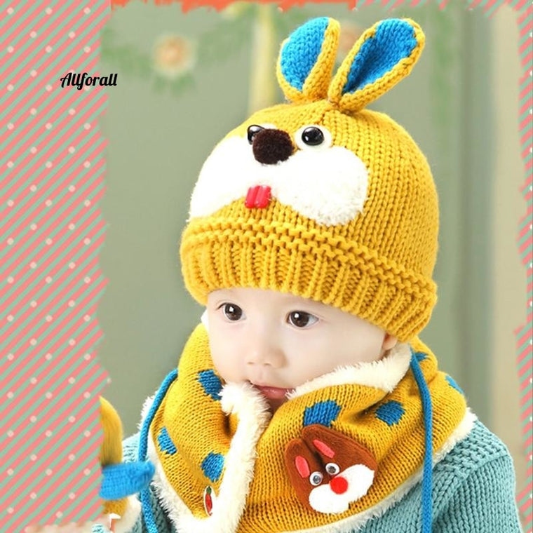 2Pcs/Set Knit Rabbit Baby Hat Scarf, Turban Beanie Warm Wool Soft Hat, Children Unisex Elastic Bonnet Autumn Winter Hat