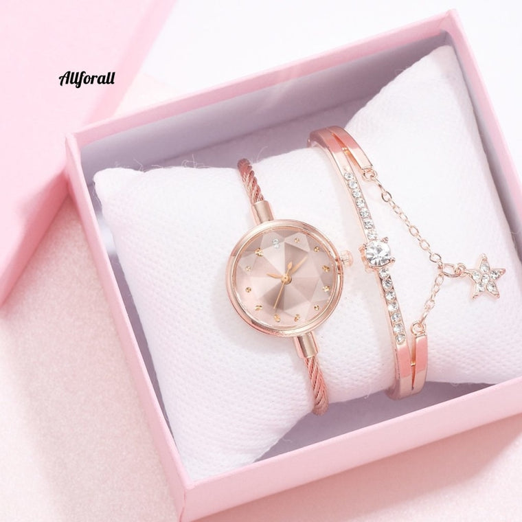 2pcs/Set Watch And Bracelete, Women Diamond Geometric Glass Luxury Bracelet Set