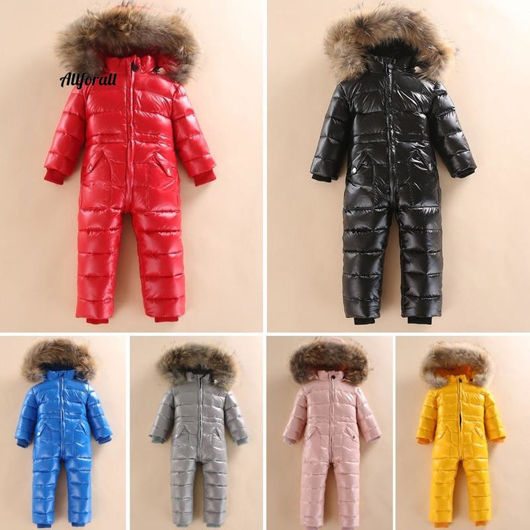 -30 Russian Winter Snowsuit, Boy Baby Jacket, Duck Down Outdoor Infant Clothes
