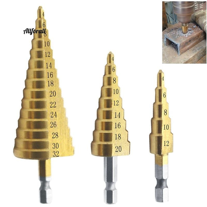 4-12 4-20 4-32 mm HSS Titanium Coated Step Drill Bit, Drilling Power Tools for Metal, High Speed Steel Wood Hole Cutter Cone Drill