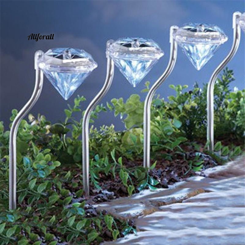 4pcs Solar LED Garden Light, Outdoor Diamond Stake Lights, Landscape Lighting 7 Color Changing Stainless Steel Pathway Lights