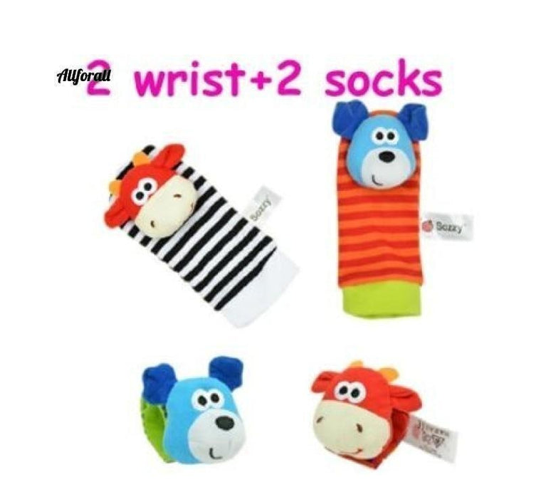 4pcs / lot Hot Baby Legetøj Garden Bug Wrist Rattle og Foot Socks