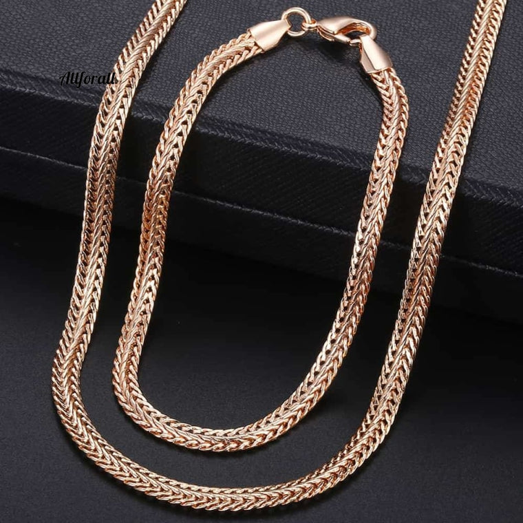 585 Rose Gold Jewelry Set, Women Braided Link Chain Necklace Bracelet Set, Wholesale Jewelry Gift