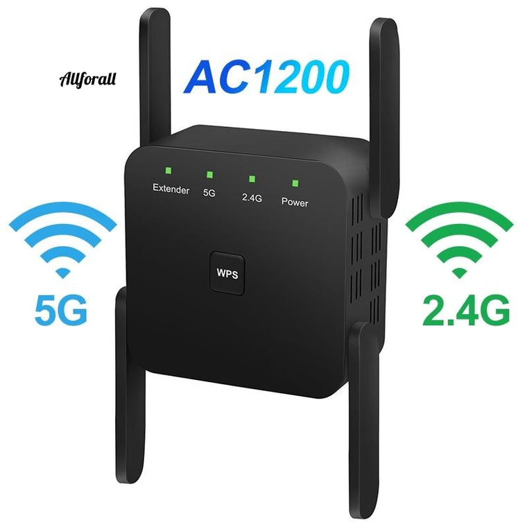 5G WiFi Repeater, 1200Mbps Router Wifi Extender, 2.4G Wireless Wifi Long Range Booster, Wi-Fi Signal Amplifier 5ghz Wi Fi Repiter
