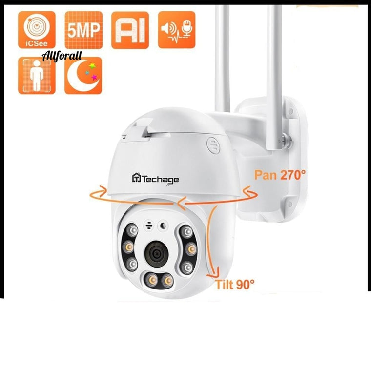 5MP HD WiFi IP Camera Outdoor Waterproof PTZ Camera, AI Human Detection Security Camera, Color Night Surveillance Camera