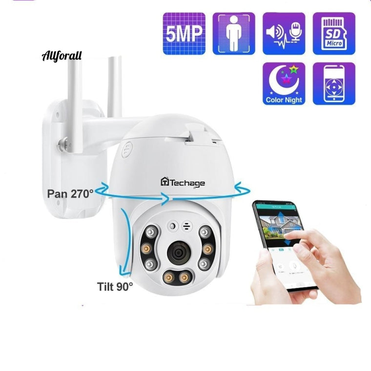 5MP PTZ Speed Dome WIFI IP Camera, 1080P Outdoor Wireless AI Security Camera, 2MP Full Color Night Two Way Audio P2P ONVIF