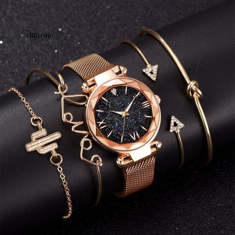5pcs Set Luxury Women Watches, Magnetic Starry Sky Female Clock Quartz Wristwatch, Fashion Ladies Wrist Watch