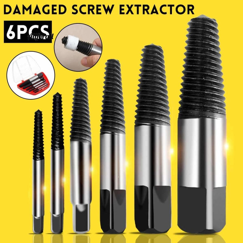 6Pcs/set Steel Damaged Screw Extractor Drill Bit, Broken Speed Out Guide Set, Broken Bolt Remover Easy Out Tool Accessories