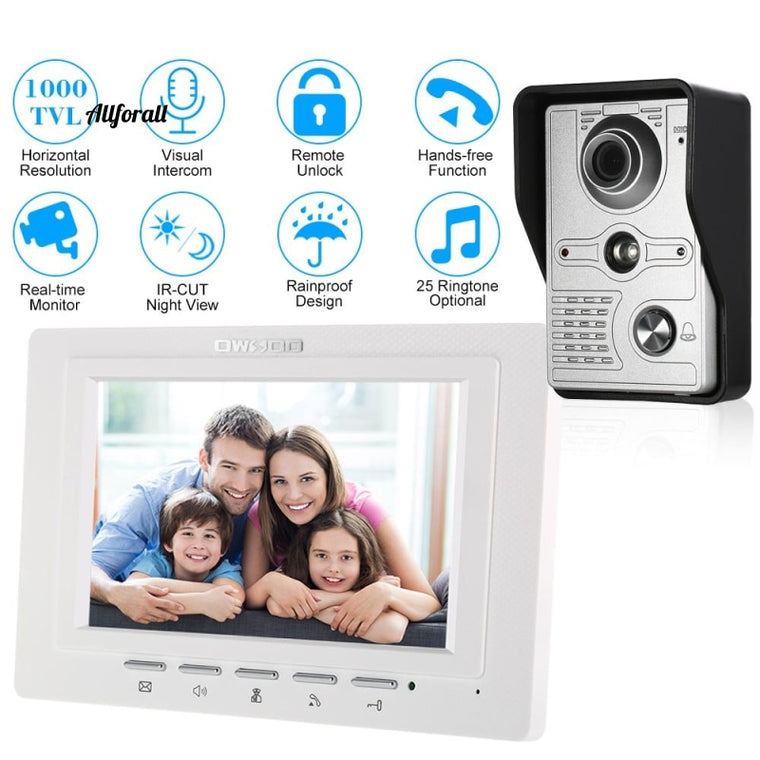 7 inch Wired Video Doorbell, Indoor Monitor IR-CUT Rainproof Outdoor Camera, Visual Intercom Remote Unlock Video Door Phone