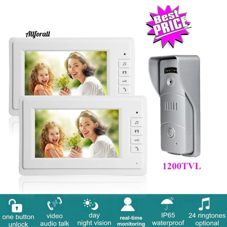 7 Inch Wired Video Intercom System With 1200TVL Video Doorbell, IR Sensor + 2 Indoor Monitors, One Key Unlock for Home Security