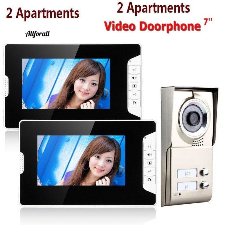 7inch LCD 2 Apartments Video Door Phone Intercom System, IR-CUT HD 1000TVL Camera Doorbell, Camera with 2 Button & 2 Monitor
