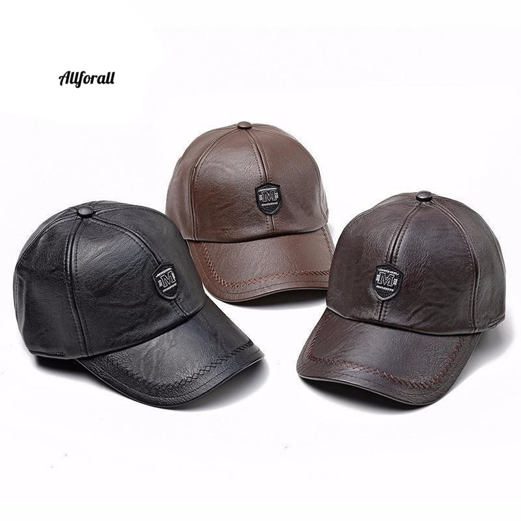 Adjustable PU Leather Baseball Cap, Solid Faux Leather Male Cap, Snap-back Hip Hop Boy Spring Street Wear