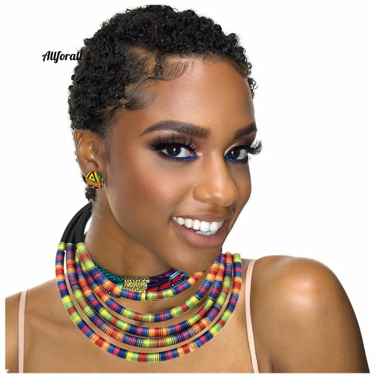 African Multi-layer Choker Necklace Earring Jewelry Set, Women Bib Collar Statement Necklace Rope Magnetism Button Jewelry