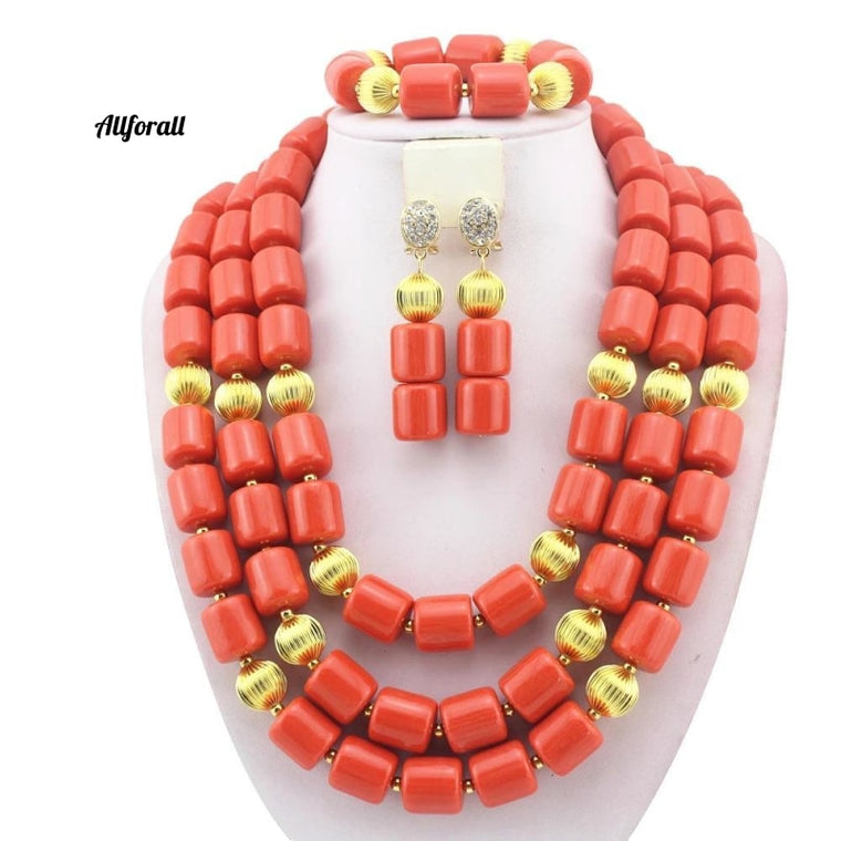 African Wedding Coral Beads Jewelry Set, African Costume Jewelry Set, Coral Beads