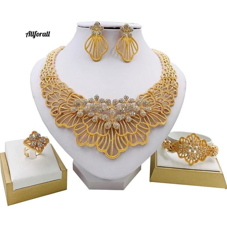 African Wedding Jewelry Set, Fashion Necklace Earring Ring Bracelet Crystal Jewelry Charm Flower Shape Jewelry Set