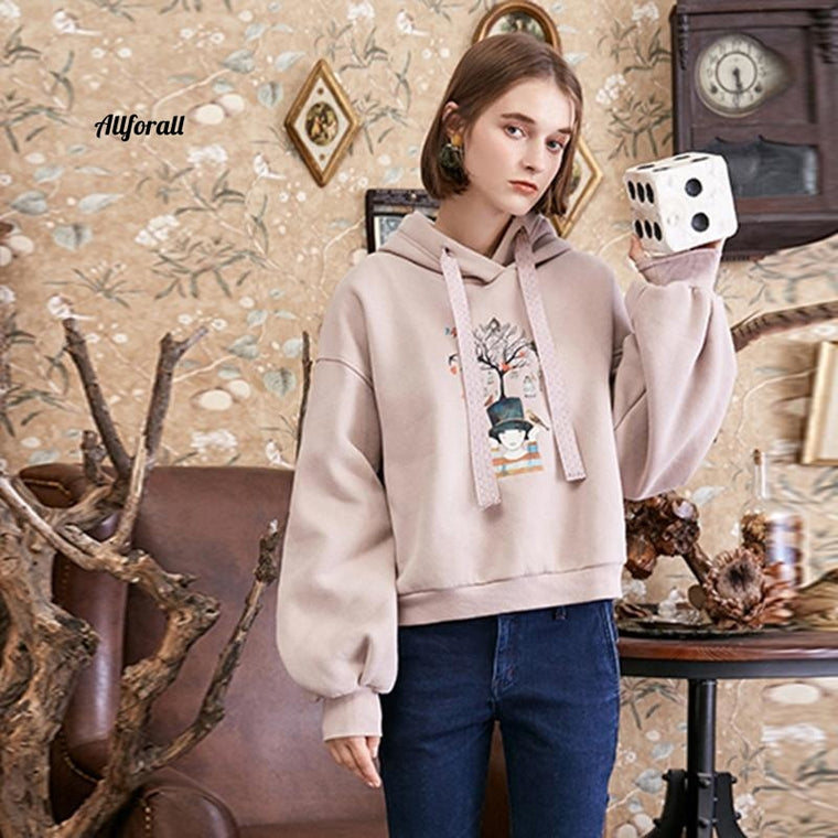 Autumn and Winter New Preppy Style Casual Loose Hooded Pullover Print Women Sweatshirt