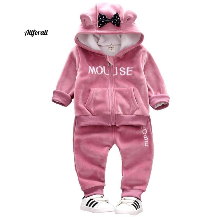 Autumn New Girl Suit, Warm Kids Hooded Two-piece Plus Velvet Toddler Clothes, Halloween Children Clothing