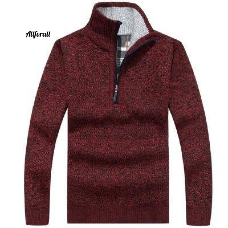 Autumn Winter New Men Zipper Sweater, Pullover Stand Collar Slim Fit Thick Sweater, Male Solid Color Knitted Pullover 3XL