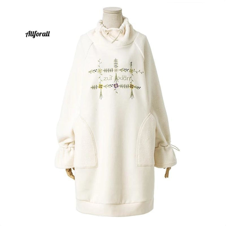 Autumn Winter New Women Sweatshirt, Elegant Embroidery Sweatshirt, Long Thicken Pullover Sweatshirt