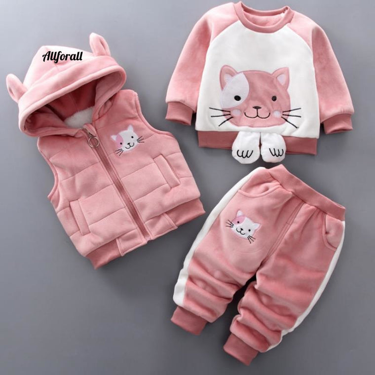 Baby Boys & Girls Warm Winter Cartoon Cat, Kids Thickening Hooded Vest+Sweater+Pant Three-piece Sport Suit Set