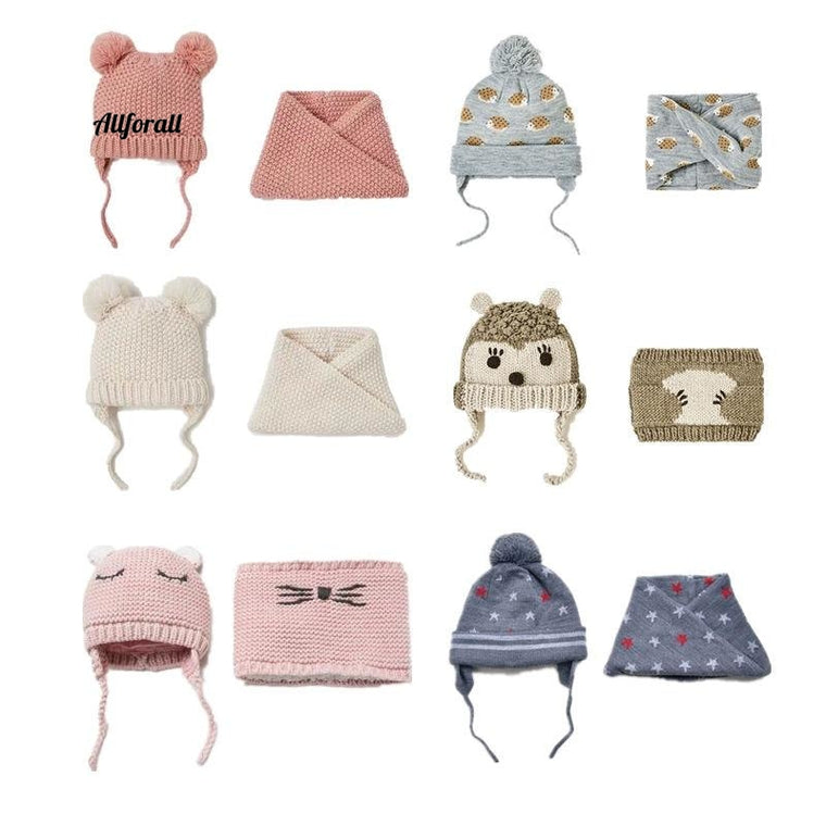 Baby Kinderen Muts & Sjaal 2pcs / lot, Herfst Winter Dubbellaags Knit Warm Unisex Wintermuts