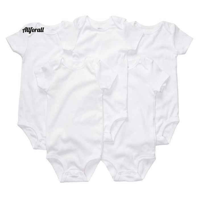 Baby Clothes, Plain White Short Sleeve Cotton Rompers For Newborns baby-clothes allforall