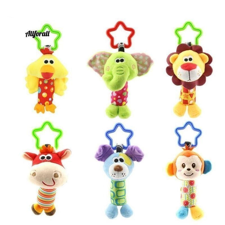 Baby Kids Rattle Toys, Cartoon Animal Plush Hand Bell Baby Stroller Toys