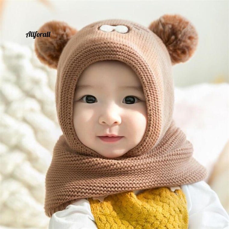 Baby Knit Short Plush Hooded Scarf Kid Hat And Scarf, Child Winter Warm Protection Ear Hat