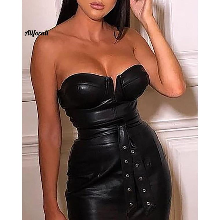 Backless Pu Leather Dress, Women High Split Black Tight Party Dress, Sexy Night Club Wear