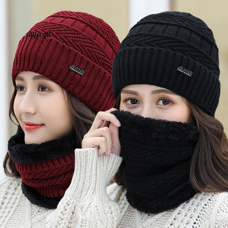 Balaclava Women's Knitted Hat Scarf Cap, Neck Warmer Winter Hats For Men Women