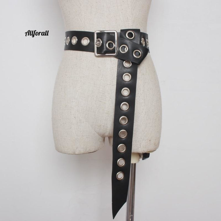 Belt for Women, Fashion Knot Long Belt, Hollow Rivet Knotted Soft PU Leather Strap Belt, Silver Pin Square Buckle Waistband