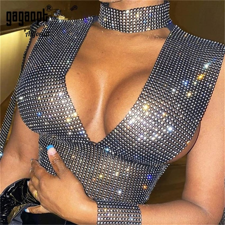 Bling Rhinestone Tank Top Sexy Deep V Neck See Through Patchwork Hollow Out Crop Top