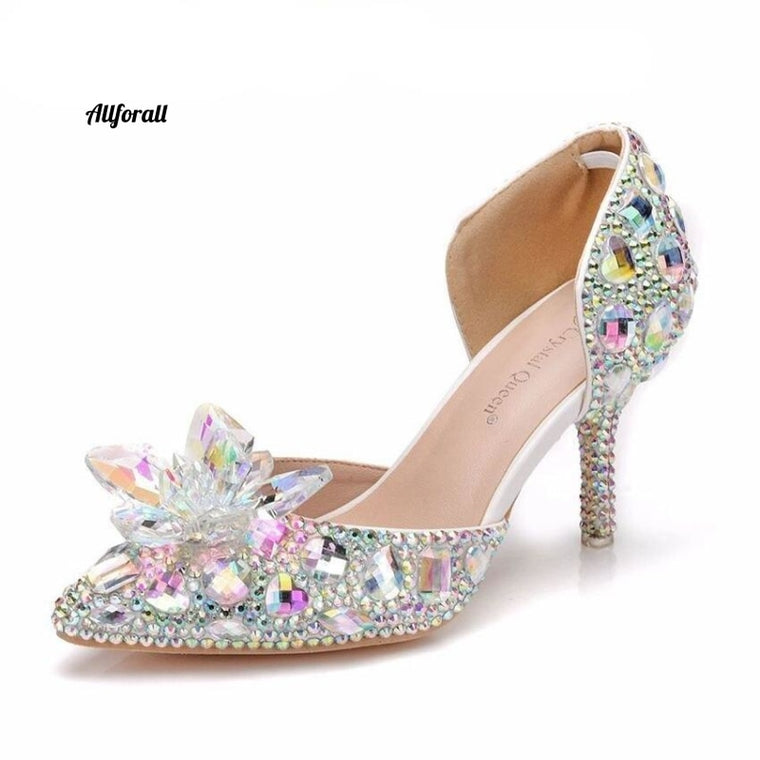 Bling Bling Stones Γυάλινο στιλέτο ψηλά τακούνια Sexy Pointed Toe Bridal Pumps Diamond Wedding Shoes