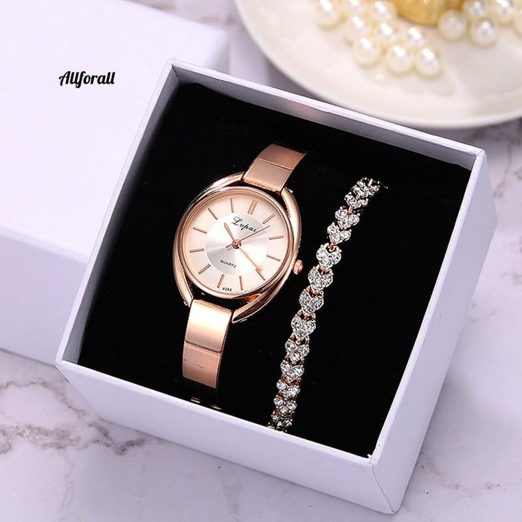 Brand 2PCS Women Wristwatch Set, Fashion Ladies Dress Luxury Rose Gold Quartz Watch Set