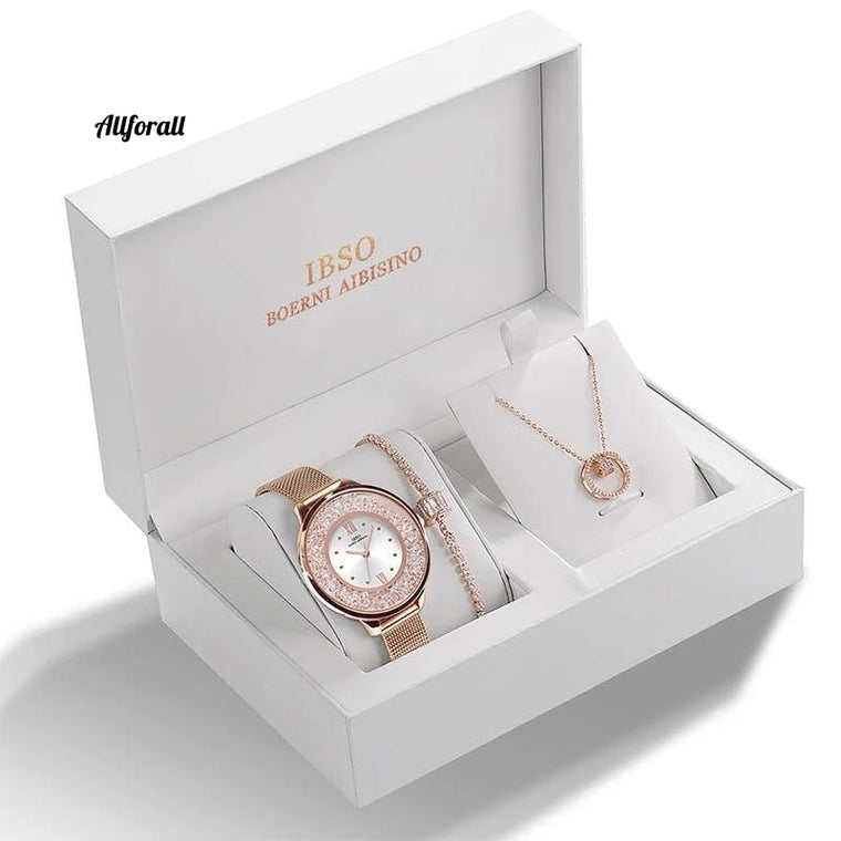 Brand Crystal Design Bracelet Necklace Watch Set, Female Jewelry Set, Fashion Creative Quartz Watch