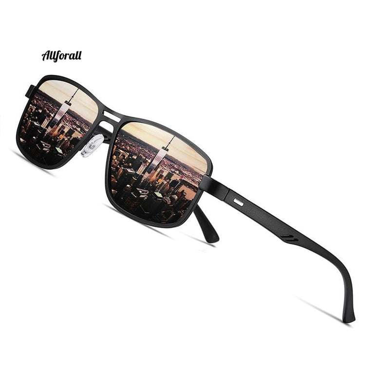 Brand Fashion Sunglasses, Men Polarized Square Metal Frame Eye-wear Sunglasses