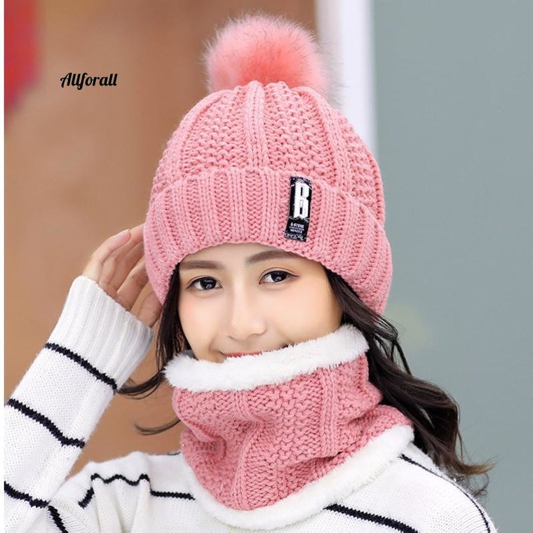 Brand Winter knitted Beanies Hat, Women Thick Warm Beanie Female knit Letter Bonnet Beanie Cap Set