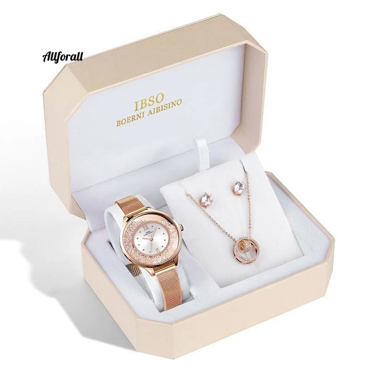 Brand Women's Quartz Crystal Design Female Jewelry Set, Original Design Quartz Watch Earring Necklace Set